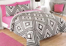 Luxlen Geo Pattern Comforter Set, Reversible, Full/Queen, Az