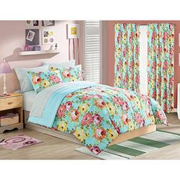 5 Piece Girls Aqua Blue Rose Bouquet Comforter Twin Xl Set,
