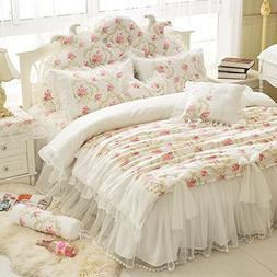 LELVA Girls Bedding Set Lace Ruffle Duvet Cover sets with Be