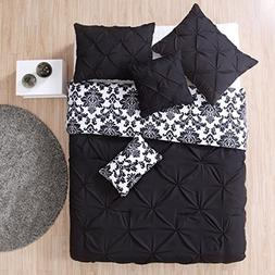 4 Piece Girls Black Damask Comforter Twin Set, Dark Black So