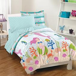 7 Piece Girls Blue Multi Mermaid Theme Comforter Full Queen