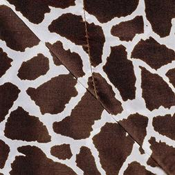 4 Piece Girls Chocolate Giraffe Queen Sheet Set, Brown White