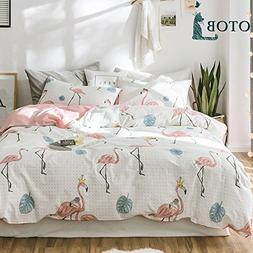 ORoa Girls Cotton Flamingo Print Queen Duvet Cover Set for K