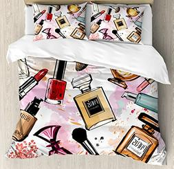 Ambesonne Fashion Duvet Cover Set Queen Size, Cosmetic and M