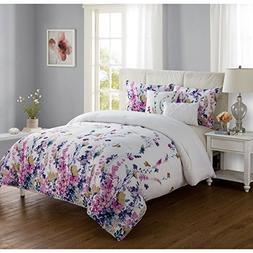 OSD 4pc Girls Flower Themed Comforter Twin XL Set, White Tea