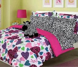 Girls Kids Bedding Hot Pink MISTY ZEBRA Bed-in-a-Bag Comfort