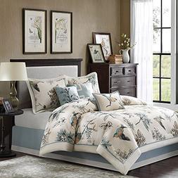 CA 7 Piece Girls Light Blue Off White Bird Themed Comforter
