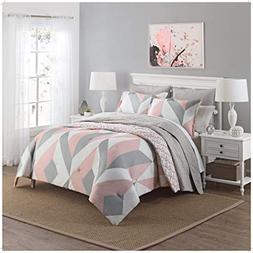 3 Piece Girls Light Pink Grey White Geometric Polkadot Theme