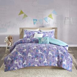 Girls Light Purple Blue White Unicorn Dream Comforter Full Q