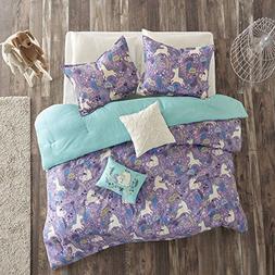 5 Piece Girls Light Purple Blue White Unicorn Dream Comforte