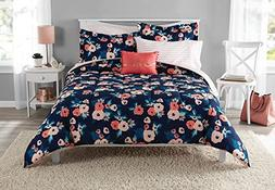 6 Piece Girls Navy Blue Rose Bouquet Comforter With Sheet Tw