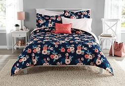 NA 8 Piece Girls Navy Blue Rose Bouquet Comforter With Sheet