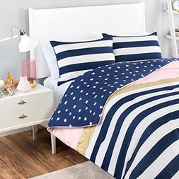 MI 2 Piece Girls Navy Blue White Stripe Comforter Twin XL Se