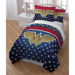 3 Piece Girls Navy Blue Wonder Woman Comforter Full Queen Se