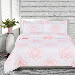 3 Piece Girls Pink White Medallion Elephant Comforter Full S