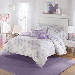 Girls White Grey Light Purple Butterflies Themed Comforter F