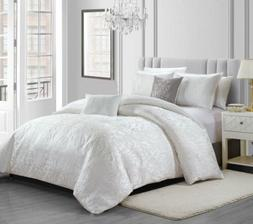 gloria 5 piece white floral jacquard comforter