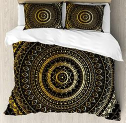 Gold Mandala King Size Duvet Cover Set by Ambesonne, Indian