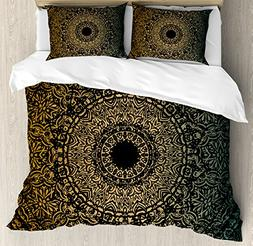 Gold Mandala Queen Size Duvet Cover Set by Ambesonne, Spirit