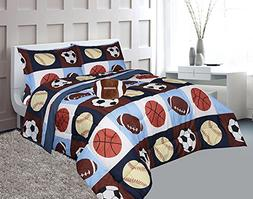 Golden Linens Full Size 8 Pieces Printed Navy Blue, Sky Blue