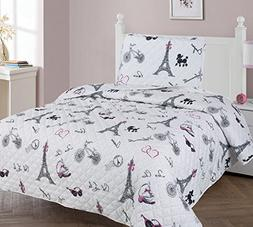 Golden Linens Twin Size 2 Pieces Printed Bedspread Coverlet