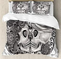 Gothic Decor King Size Duvet Cover Set by Ambesonne, Art Sku