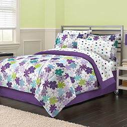 First At Home Graphic Daisy Comforter Set, Queen, Purple