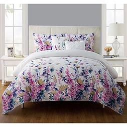 4 Piece Graphic Floral Garden Pattern Comforter Set Twin XL
