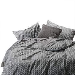 Wake In Cloud - Gray Comforter Set, Chevron Zig Zag Geometri