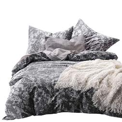 Wake In Cloud - Gray Comforter Set, White Modern Pattern Pri