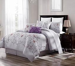 7 Piece Gray/Purple Oversized Embroidered Cotton Touch Comfo