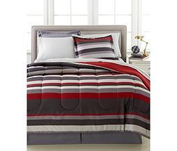 Gray & Red Teen Boys Stripe Reversible Full Comforter Set  +