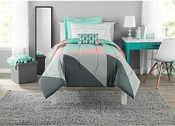 Mainstays Gray And Teal Bed In A Bag Comforter Set Twin Bed