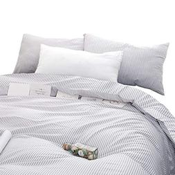 Wake In Cloud - Gray White Striped Duvet Cover Set, 100% Cot