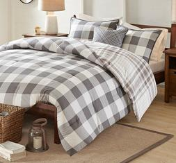 grey plaid 4pc comforter set cotton country
