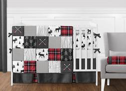 Sweet Jojo Designs Grey, Black and Red Woodland Plaid and Ar