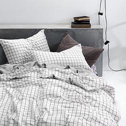 Grid Duvet Cover Set, 100% Cotton Bedding, Black Grid Geomet
