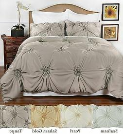 Hand Tufted Peony style comforter set with 2 pillow shams -