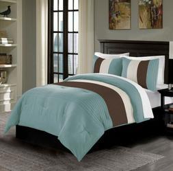 Harper 3-Piece Blue/Brown/Beige Striped Bedding Comforter Se