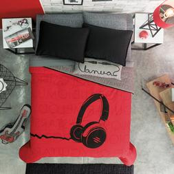 Headphones Red Boys Reversible Comforter Set 3-4pcs in Twin