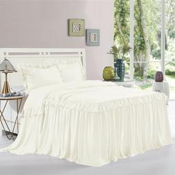 HIG 3 Piece ALINA Ruffle Skirt Bedspread Set 30 inches Drop