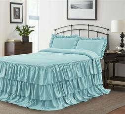 HIG 3 Piece ECHO Ruffle Skirt Bedspread Set 30 inches Drop T