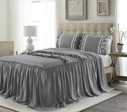 HIG 3 Piece EMMA Ruffle Skirt Bedspread Set 30 inches Drop T