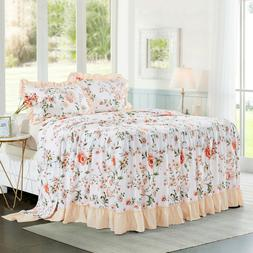 HIG 3 Piece Print Ruffle Skirt Bedspread Set 30 inches Drop