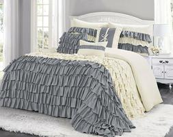 HIG 7/8 Piece Gray Color Comforter Set  Bed in A Bag Various