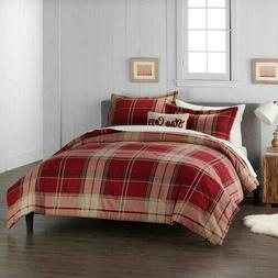 Cuddl Duds Home Red Plaid Flannel Comforter Set - 4-piece -
