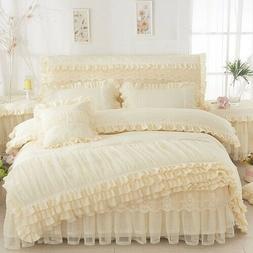 Home Textiles Bedding Princess Lace Quilt Bed Skirt Pillowca