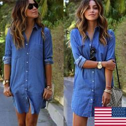 HOT Women's Blue Jeans Denim T-Shirt Long Sleeve Casual Loos