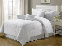 Chezmoi Collection 7-Piece Hotel Dobby Stripe Comforter Set,