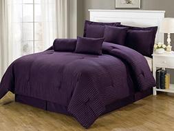 Chezmoi Collection 7-Piece Hotel Dobby Stripe Comforter Set,